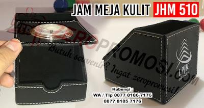 Souvenir Jam Meja Kulit Promosi JHM 510, jam meja kulit kantor promosi, souvenir jam kulit bisa sablon logo