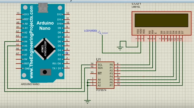 LCD I2C menggunakan Arduino Nano pada Proteus