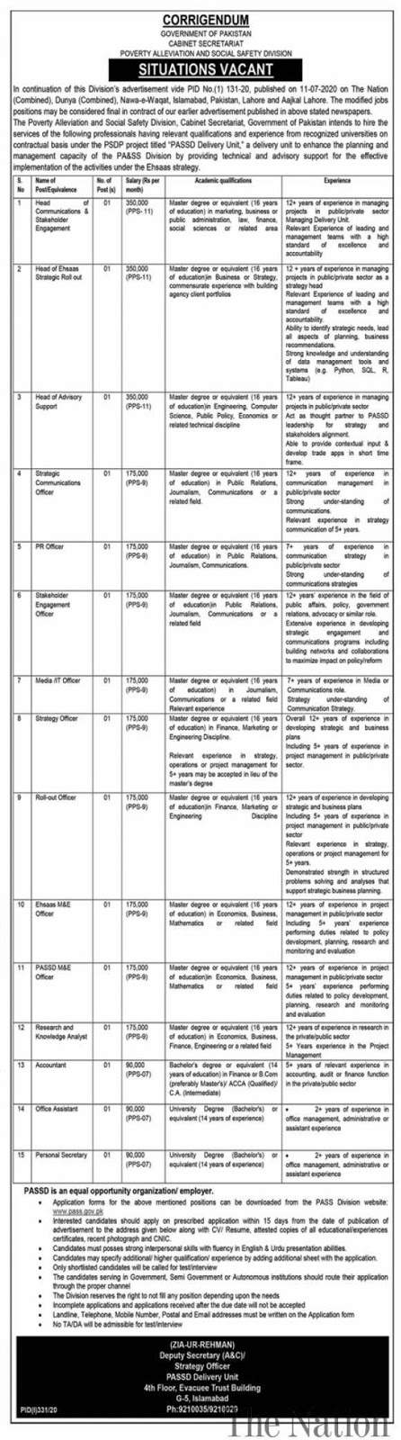 Latest Cabinet Secretariat Poverty Alleviation & Social Safety Division PASSD Jobs 2020