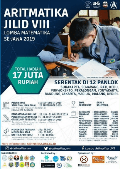 Lomba Matematika Aritmatika UNS 2019 Se-Jawa Untuk SMP/SMA Sederajat
