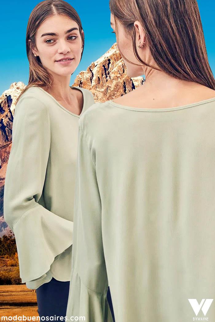 blusa manga acampanada u oxford moda invierno 2021