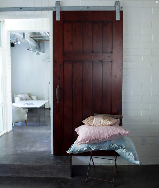 Industrial interior with the pretty barn door #industrial #door