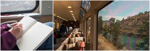 Detalle del interior del vagon del tren Rocky Mountaineer