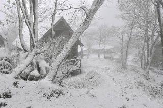 天狗高原で初雪と初冠雪