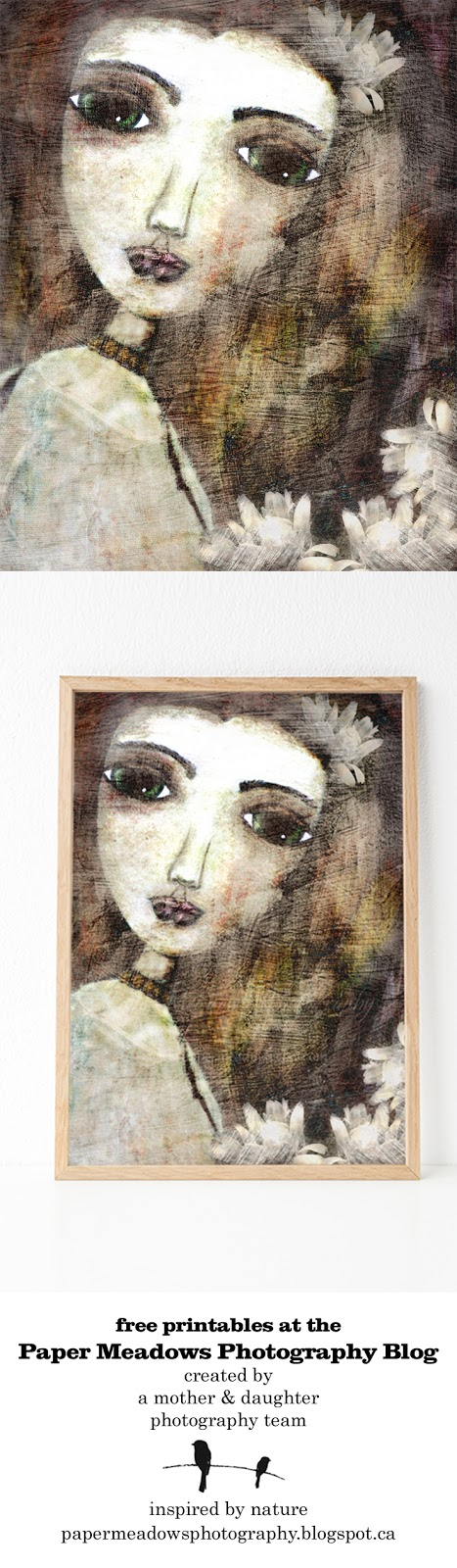 Share us! Pin and tweet her. Paper Meadows Photography Blog-Free Printable-Mixed Media Art Girl