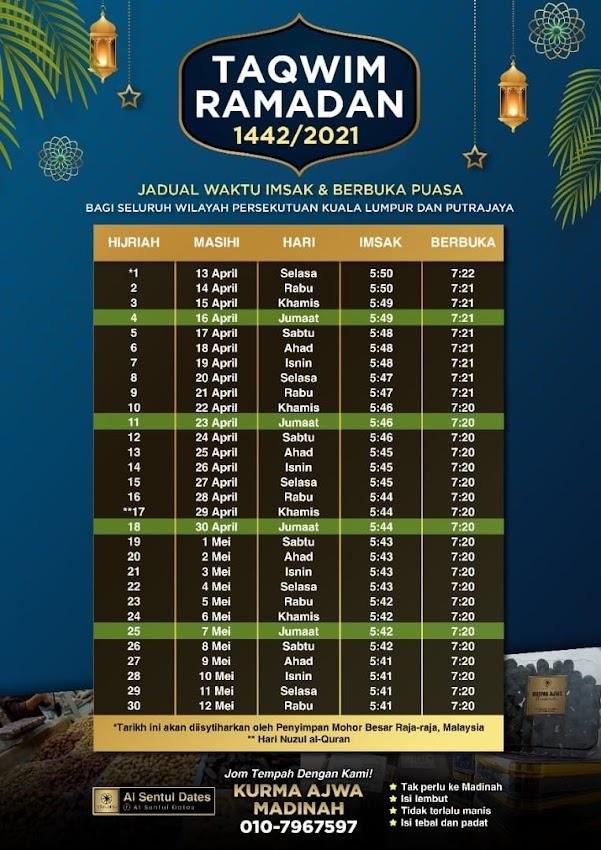 Waktu Imsak dan Berbuka Puasa 1442H 2021M Kuala Lumpur dan Putrajaya