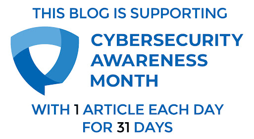Graphic announcing 31 articles for Cybersecurity Awareness Month