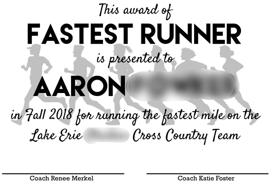 running achievement award for kids