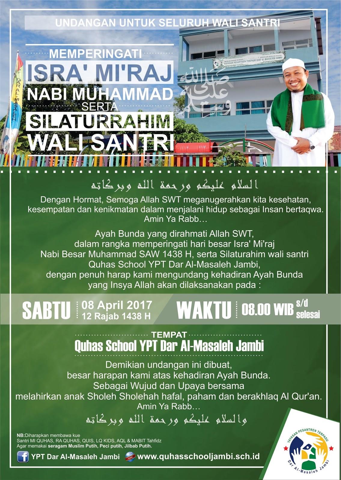Undangan Peringatan Hari Besar Isra Mi Raj Nabi Besar Muhammad Saw