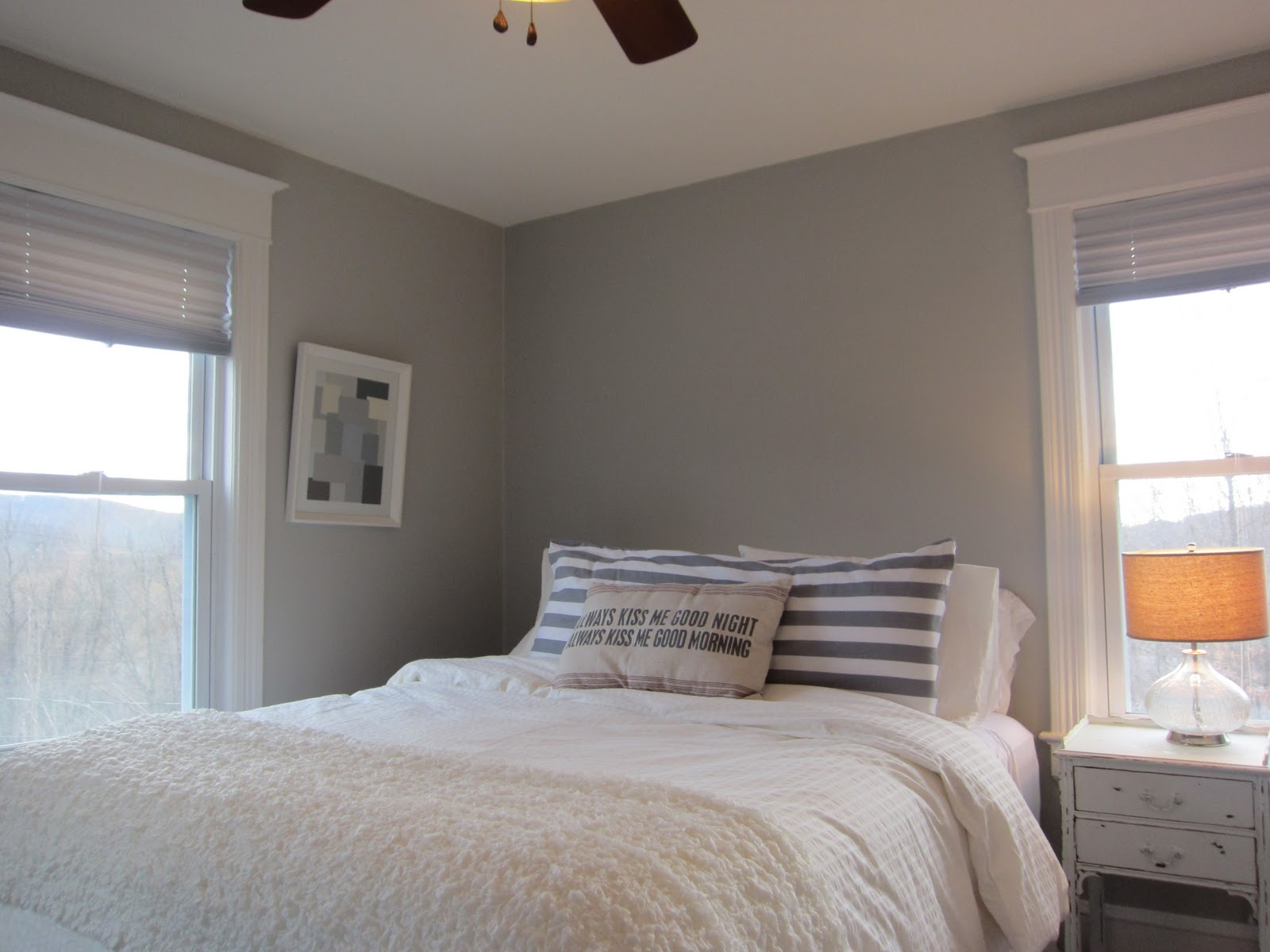 Blue white gray bedroom