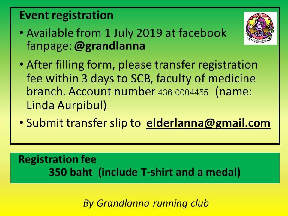 ล้านนาพาวิ่ง ครั้งที่ 3 Run with Senior Lanna 3rd วันอาทิตย์ที่ 13 ตุลาคม 2562 เวลา 06.00 น. ณ สถาบันการพลศึกษา จังหวัดเชียงใหม่