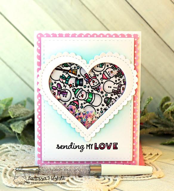 Sending My Love Snowman Card by Larissa Heskett | Snowman Roundabout Stamp Set and Heart Frames Die Set by Newton's Nook Designs