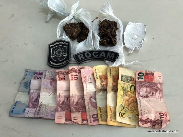 Jovem é detido com maconha e cocaína no centro de Santa Cruz do Capibaribe