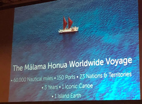 Chad Baybayan, U. of Hawaii, describes the Malama Honua worldwide canoe voyage at AAS 235 (Source: Palmia Observatory)
