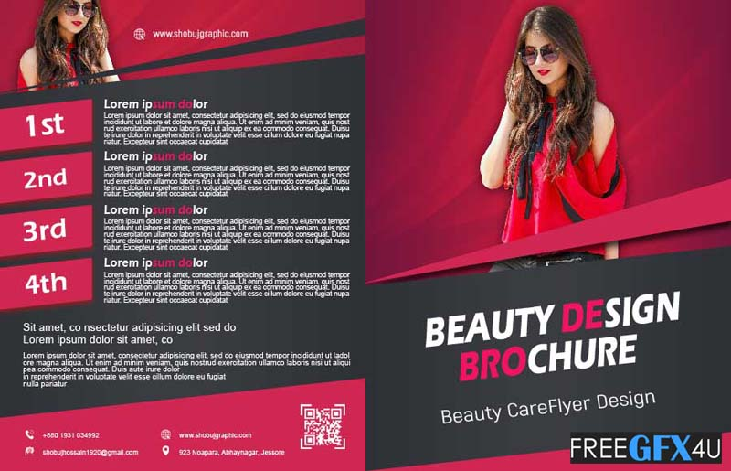 Skincare and Beauty Clinic Bi Fold Brochure Design