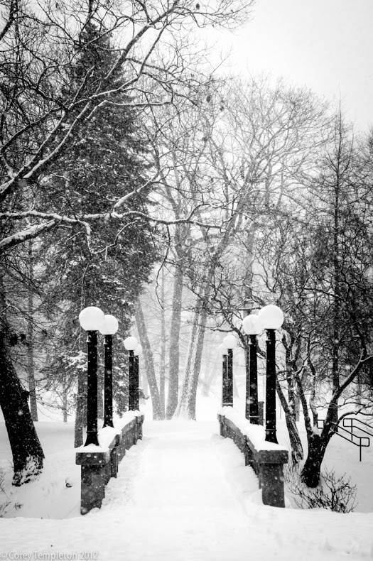 Portland, Maine USA photo by Corey Templeton. A Thursday throwback to the bridge in Deering Oaks Park after a snowy day. Taken December 2012.
