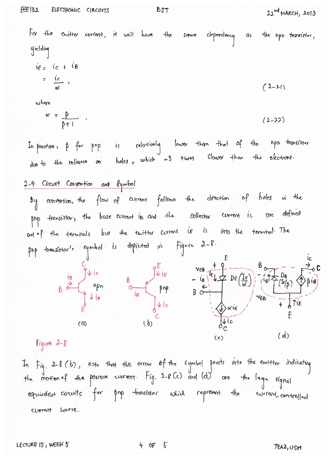 EEE132 ELECTRONIC CIRCUITS Lecture 15 22nd March, 2013 (Week