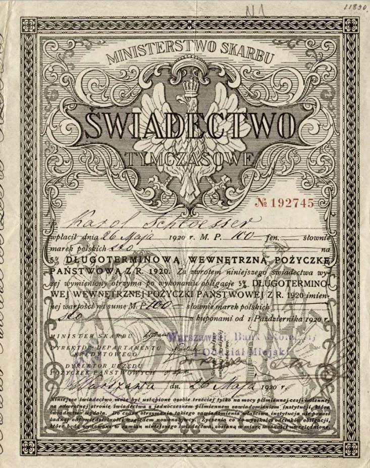 Poland 1920 treasury loan