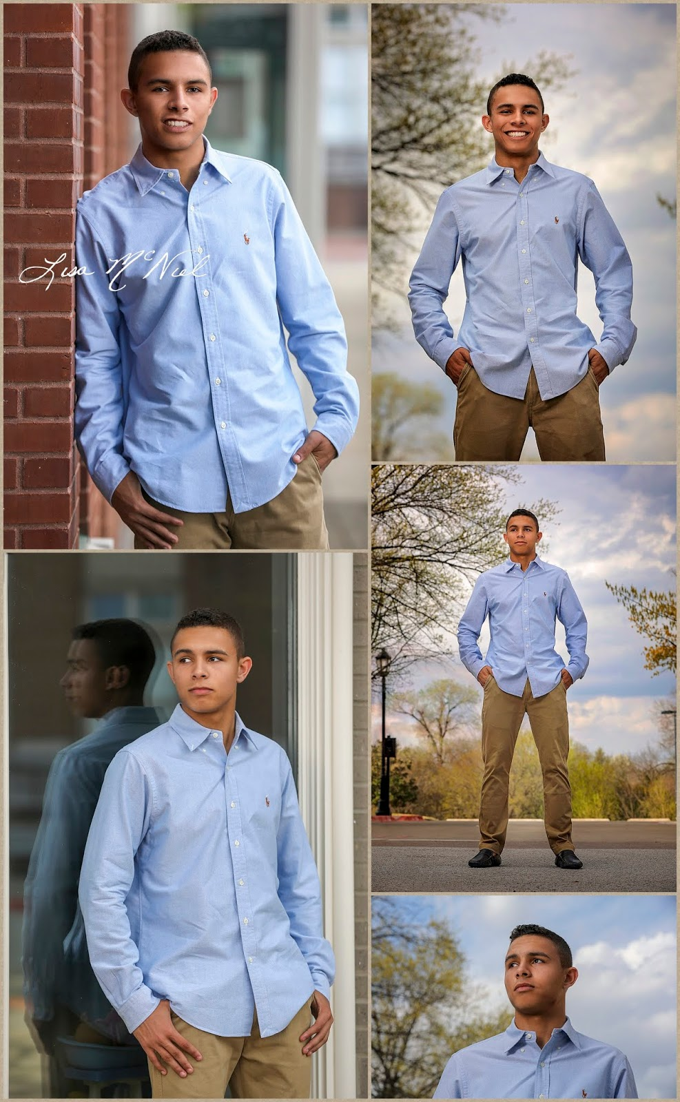 collage of young man wearing blue shirt