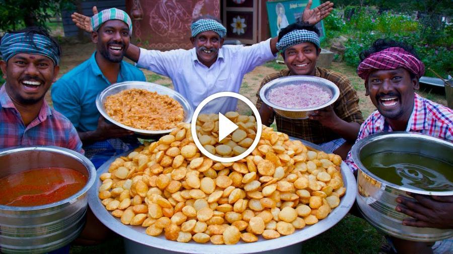 1000 PANI PURI   Golgappa Recipe Cooking in South Indian Village   How to make Pani Puri Recipe
