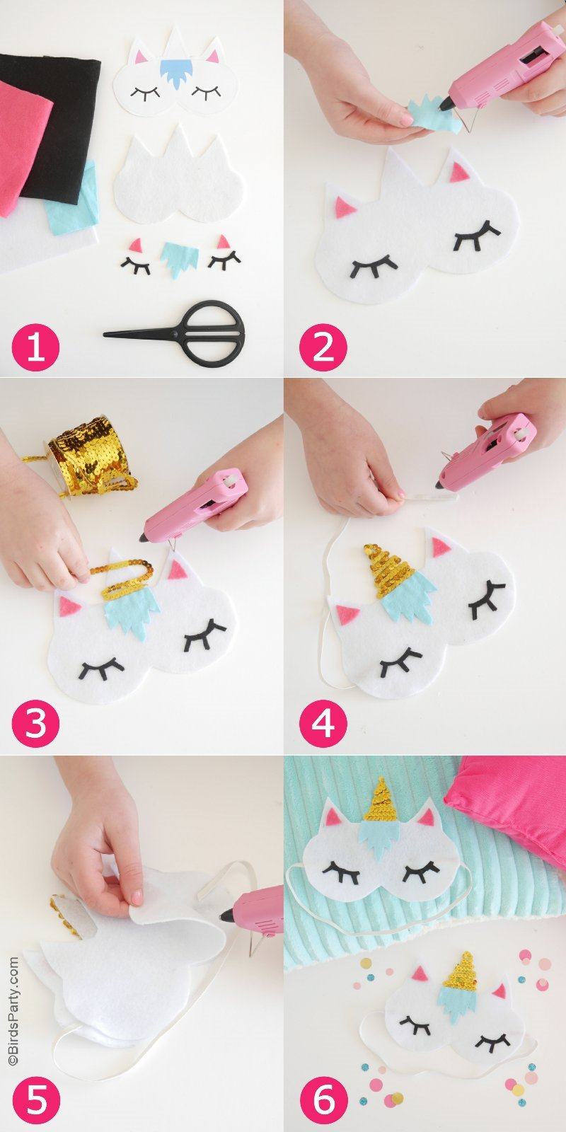 No-Sew DIY Unicorn Sleeping Masks with Free Template ...