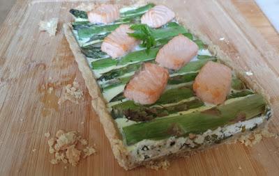 Tarte mit grünem Spargel und Lachs