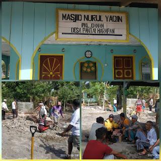 Masyarakat Desa Pantai harapan dusun satu Gotong royong Bangun Masjid Nurul YAQIN kampong pangkal Danam
