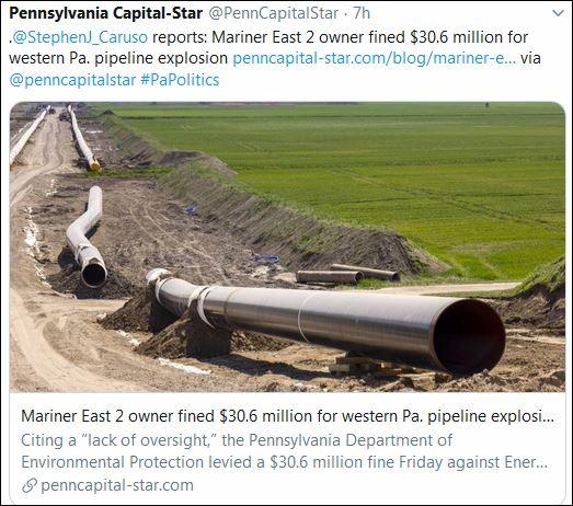 https://www.penncapital-star.com/blog/mariner-east-2-owner-fined-30-6-million-for-western-pa-pipeline-explosion/