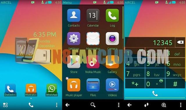 Symbian phone blue wp theme + transparent widgets nokia n8 s.