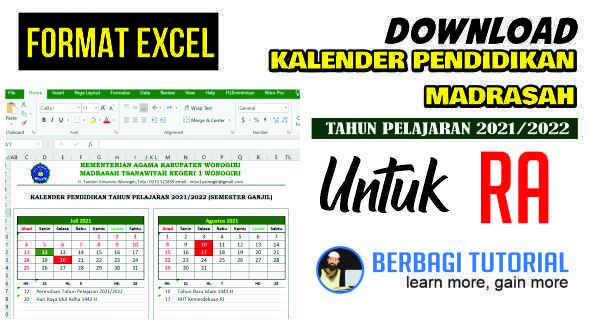 Download Kalender Pendidikan RA Tahun Pelajaran 2021/2022 Format Excel
