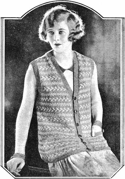 1920/'s Fair Isle V Neck Flapper Sweater Knitting Pattern Copy