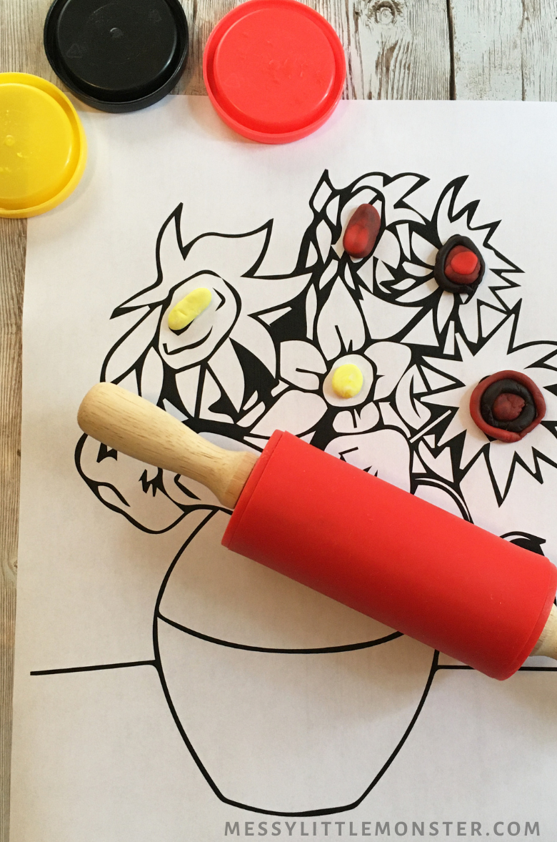 Van Gogh sunflowers playdough activity for kids
