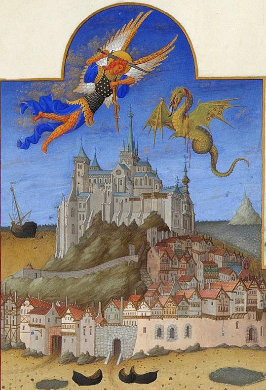 São Miguel Arcanjo, Très Riches Heures du duc de Berry, Folio 195r