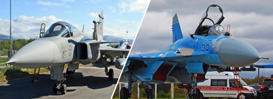 JAS-39 Gripen у повітряному бою впевнено перемагає Су-27