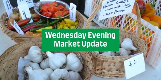 colorful hot peppers and garlic in baskets with words Wednesday Evening Market Update