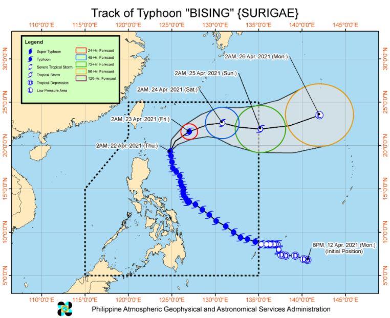 Typhoon 'Bising' track