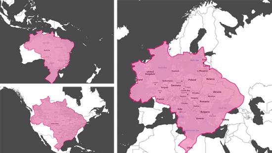 Comparação do tamanho real do Brasil com relação a Austrália, EUA e Europa