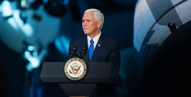 Vice President Mike Pence delivers opening remarks during the National Space Council's first meeting, Thursday, Oct. 5, 2017 at the Smithsonian National Air and Space Museum's Steven F. Udvar-Hazy Center in Chantilly, Va. Credits: NASA