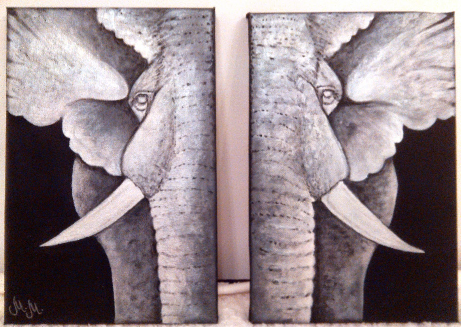 black white grey painting acrylic on canvas, painting of elephants, separated canvas painting, art,