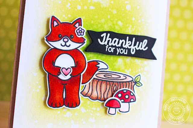 Sunny Studio Stamps: Woodsy Creatures Thankful for You Fox Card by Eloise Blue.