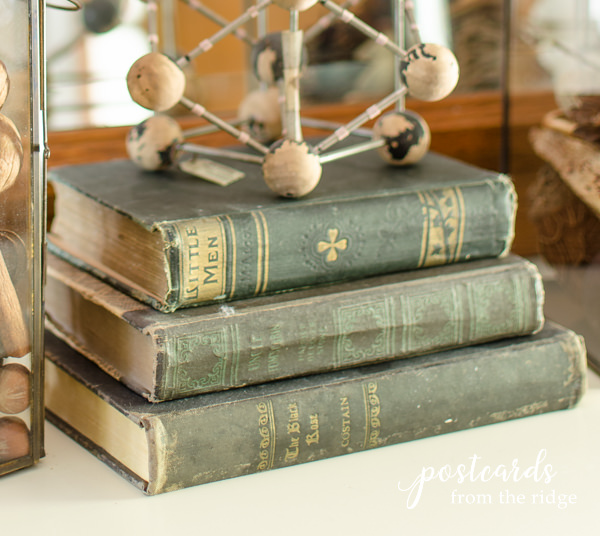Vintage books with fall decor