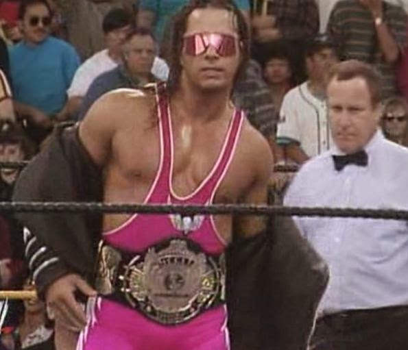 WWE / WWF WRESTLEMANIA 9: WWF Champion Bret 'The Hitman' Hart prepares for battle