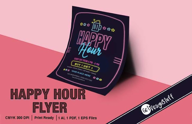 Happy Hour Flyer Illustrator Print ready Template