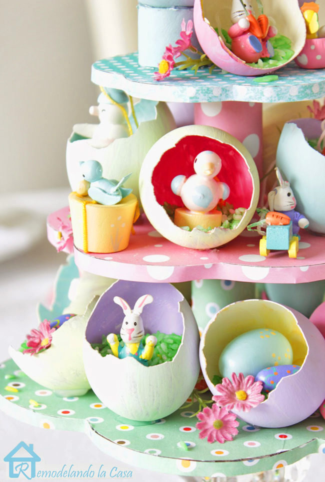 easter centerpiece with little bonnies, birds, eggs