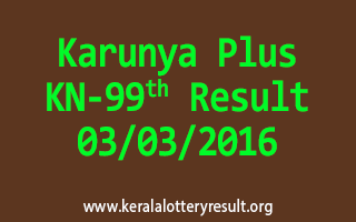 Karunya Plus KN 99 Lottery Result 03-03-2016