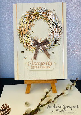 Stampin Up, Andrea Sargent, Holiday Catalogue, blog hop, Beautiful Boughs, Peaceful Boughs, embossing
