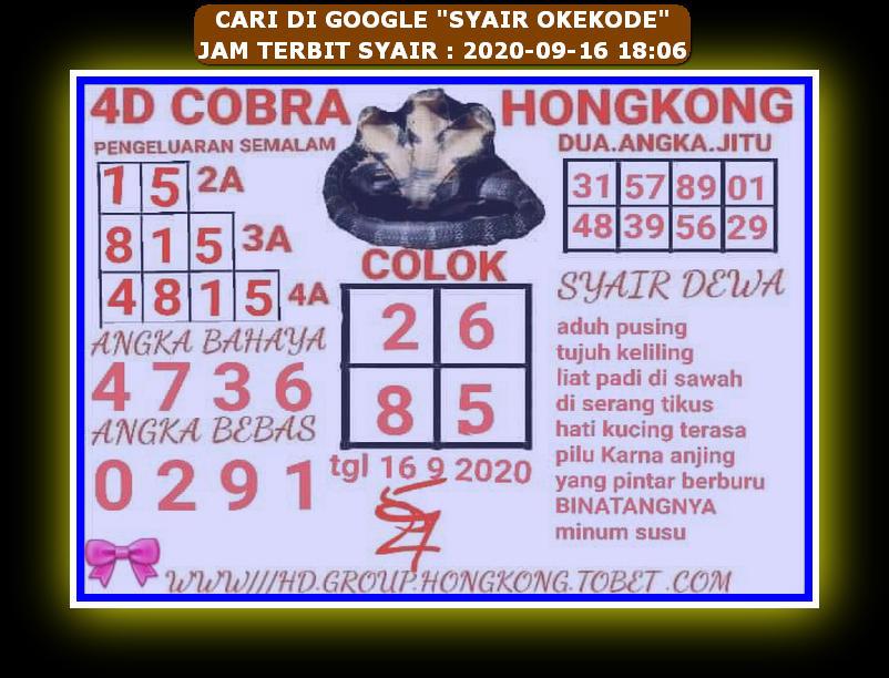 Kode syair Hongkong Rabu 16 September 2020 44