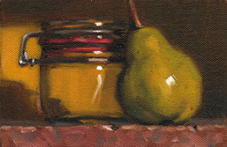 Still life oil painting of a green pear beside a small preserving jar