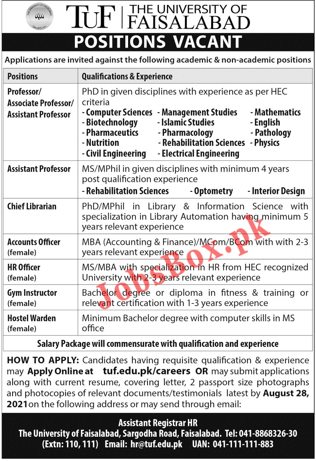 The University of Faisalabad TUF Jobs 2021 – tuf.edu.pk/careers