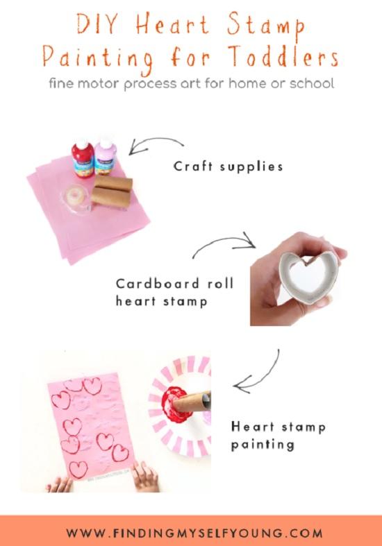 diy heart stamps using toilet paper rolls